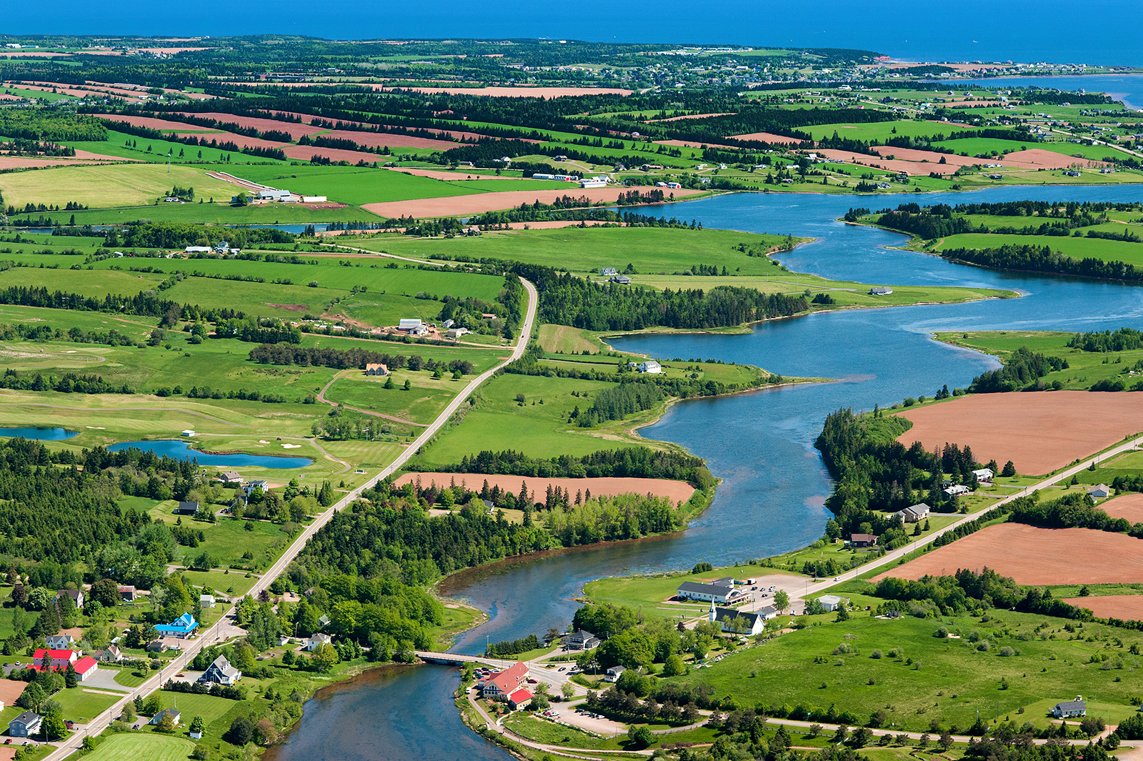 Aerial image of New Glasgow, PEI to illustrate how groundwater is managed