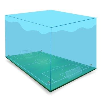 Illustration of soccer field in a water tank