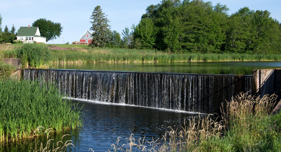 Image of dam in rural PEI community